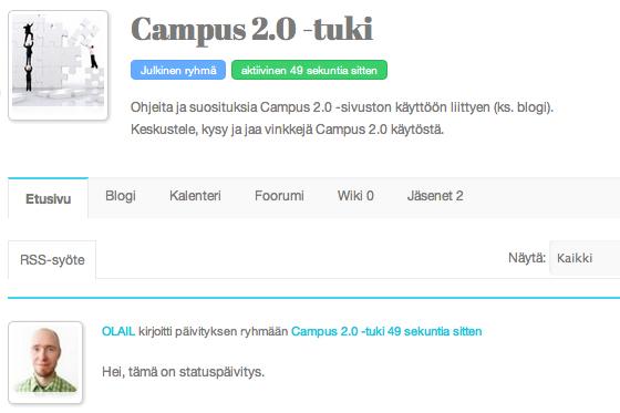 Sosiaalisen median oppimisympäristö Campus 2.0 -ryhmät