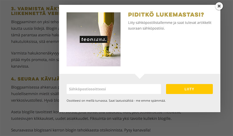 Konversio-optimointi Pop-up